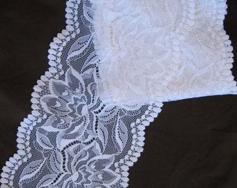 """lovely stretch floral lace, white, 5 1/4"""" extra wide"""