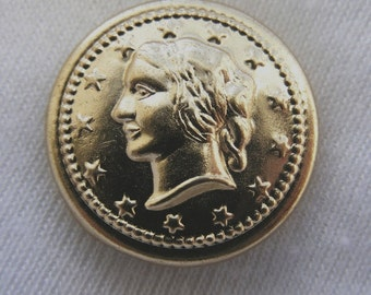 Liberty gold tone coin 7/8 inch metal buttons