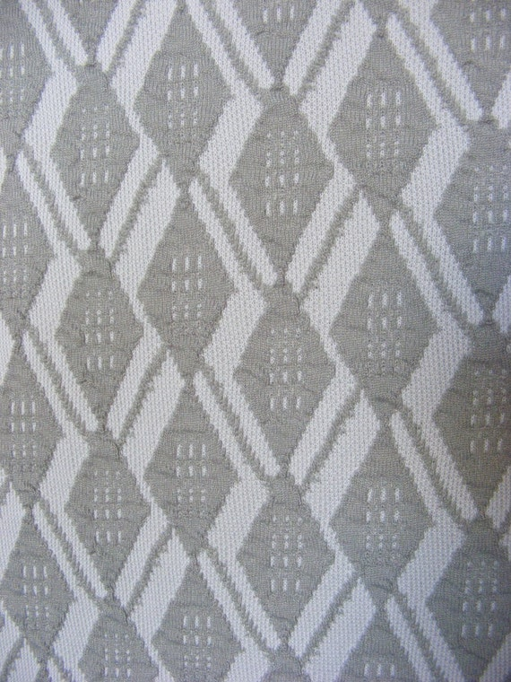 1960's double knit textured fabric, argyle pattern, pale moss green and cream