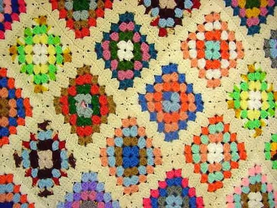 Large Vintage Granny Square Crochet Afghan