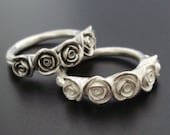 The Kirstin Ring - Five Sterling Roses in Dark or White Finish - Custom / Made to Order in 4 to 5 WEEKS (Sizes 6 to 11)