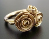 "Peach Gold Peonies - Solid 14K ""Peach-Gold"" Ring w/ 3 Handsculpted and Cast Peonies - MADE TO ORDER in 4 to 6 Weeks"