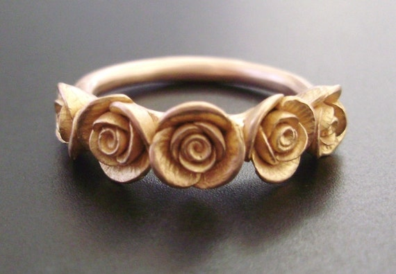 RESERVED for N - Rose Gold Ring with Five Roses, Rose Gold Melissa Wedding Set, and Wide-Band Bouquet of Roses Ring