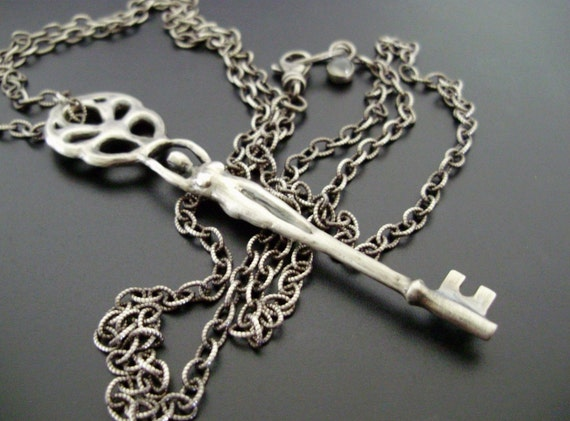 RESERVED for T - Goddess Skeleton Key Necklace - Handsculpted, Cast Original in Sterling Silver - Ready to Ship - SALE