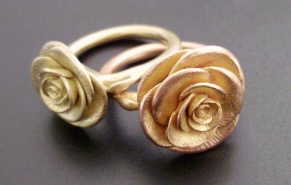 SALE - A Rose in Rose Gold - Handsculpted, Cast Ring in Solid 14K Rose Gold (Sizes 6.5 to 7.5)