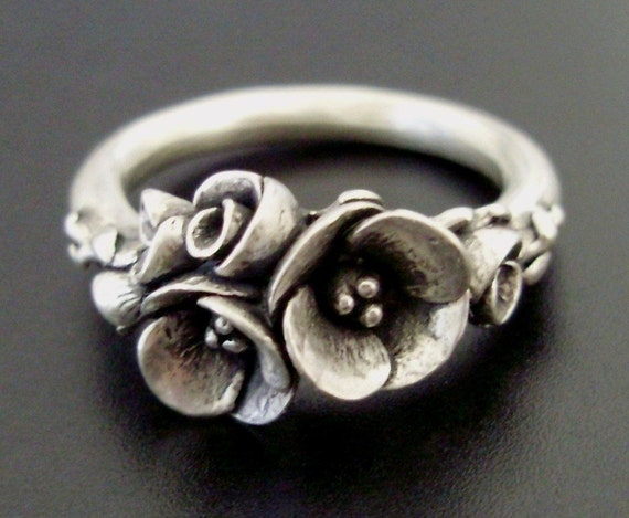 Tiniest Bouquet of Poppies - Small-Sized Ring - Handsculpted, Cast Sterling Silver - READY TO SHIP (Sizes 4 to 5)