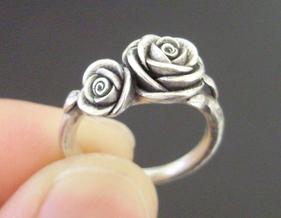 Double-Rose Ring - Ready to Ship - SMALL SIZE (Sizes 5 to 6) - Handsculpted, Cast Sterling Silver Ring