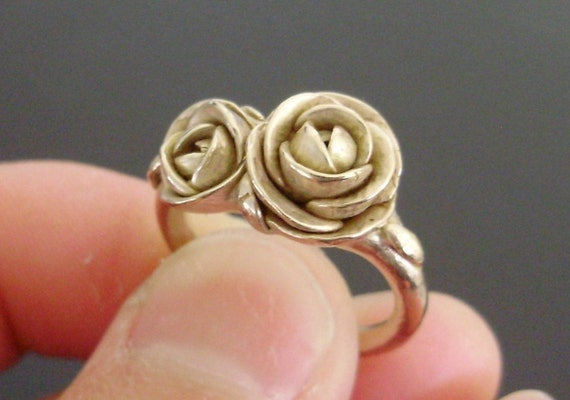 Peach Gold Peonies - SAMPLE SALE - Solid 14K Peach-Gold Ring w/ Handsculpted and Cast Peonies - Small Size (Sizes 5.5 to 6) - Ready to Ship
