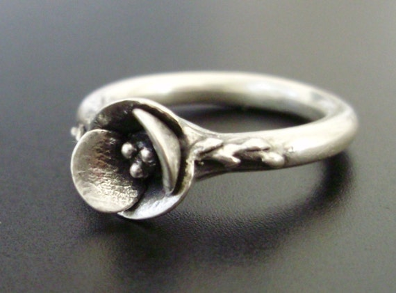 A Poppy in Sterling Silver - SMALL SIZE (Sizes 4.75 to 5.5) - Handsculpted, Cast Sterling Silver Ring - Ready to Ship