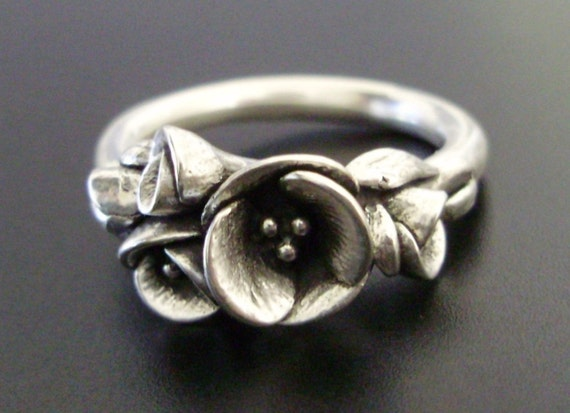 RESERVED for L - Tiniest Bouquet of Poppies - Handsculpted, Cast Sterling Silver Ring - Balance Listing