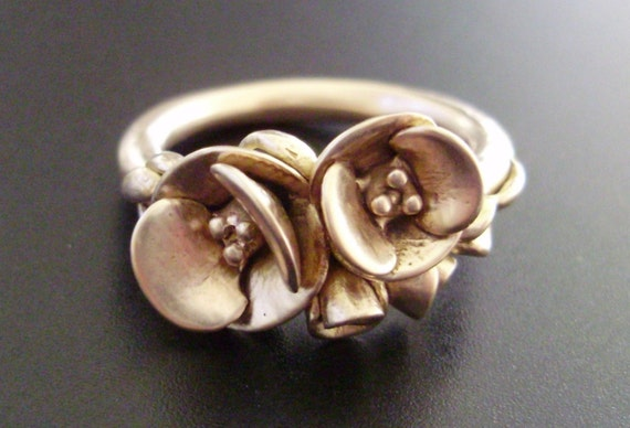 """Poppies in Peach Gold - SAMPLE SALE - Handsculpted, Cast in Solid 14K """"Peach Gold"""" - Ready to Ship (Sizes 6.5 to 7)"""