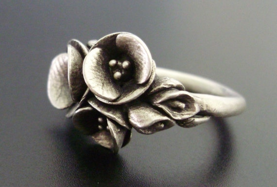 RESERVED for C - Deposit Listing - Sterling Silver Ring with Poppies and Calla Lilies