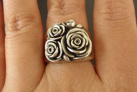 RESERVED for A - Bouquet of Roses Ring (Sizes 6 to 6.75) - Handsculpted, Cast Sterling Silver Wide-Band Ring with 4 Roses