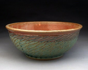 2 Quart Bowl- Green and Shino Glazed - Made to Order