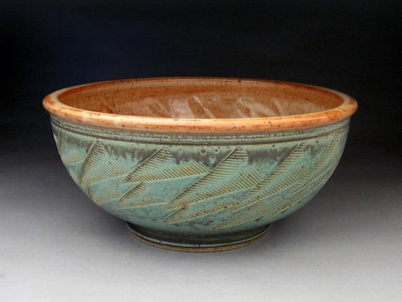 Large 3 Quart Bowl- Green and Shino Glazed