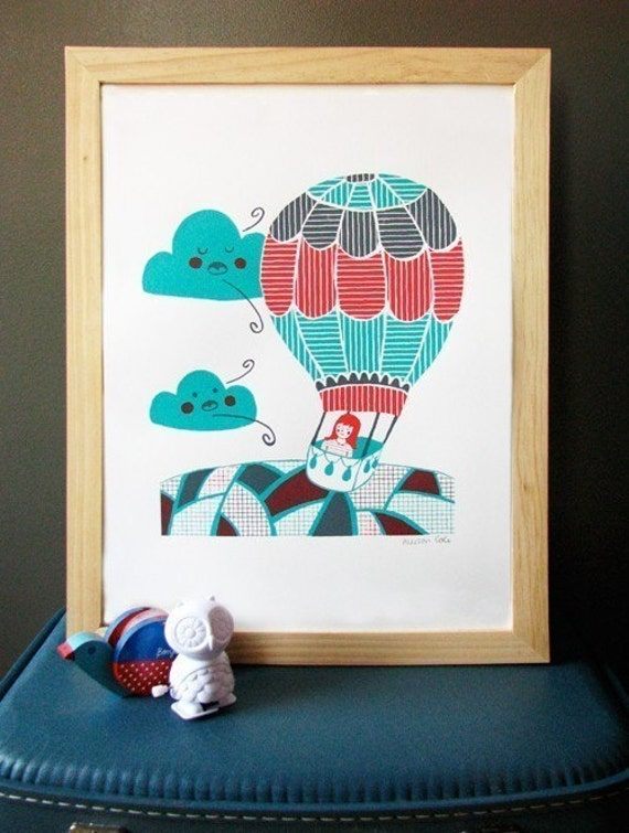 SALE Hot Air Balloon Screen Print 11x14