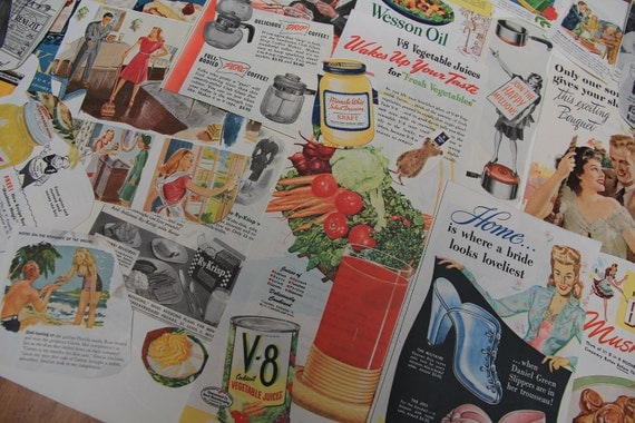 Vintage Ephemera 1940s 1950s Magazine Ads Collage Grab Bag Paper Pack A