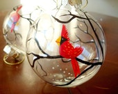 2 Red Cardinal Glass Ornaments