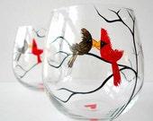 Love Birds Stemless Wine Glasses--Set of 2