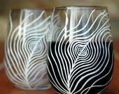 White Peacock Feather Stemless Wine Glasses - Set of 4 Hand Painted Peacock Glasses