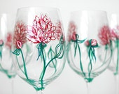 Pink Peonies Wine Glasses - Hand Painted Wine Glasses