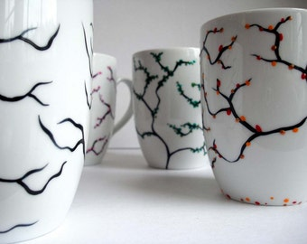 The Four Seasons Coffee Mugs - 4 Piece Hand-Painted Collection