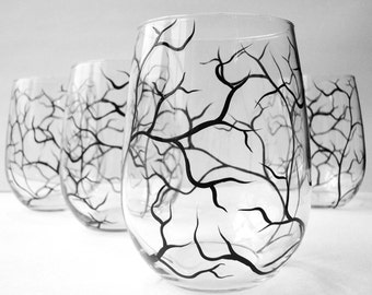 Hand Painted Wine Glasses - Set of 4 Winter Tree Branch Stemless Glasses - Winter Tree Branches