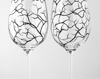 Winter Tree Branch Wine Glasses - Set of 4 Hand Painted Wine Glasses, Tree Branch Glassware, Tree Branch Glasses, Painted Tree Glasses