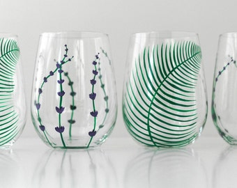 Garden Party Wine Glasses - 4 Piece Stemless Collection - Hand Painted Wine Glasses for Mothers Day Gift