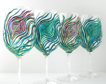 Regal Peacock Feather Wine Glasses - 4 Piece Hand Painted Wine Glass Collection