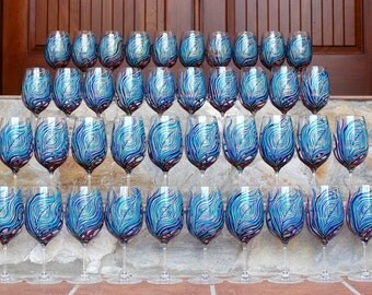 Peacock Wine Glasses 40 Piece Personalized Wedding Collection - Custom Made for your Wedding