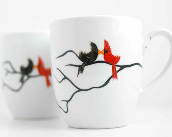 Personalized Valentine Love Birds Coffee Mugs - Set of 2 Hand Painted Personalized Mugs for Valentines Day Gifts