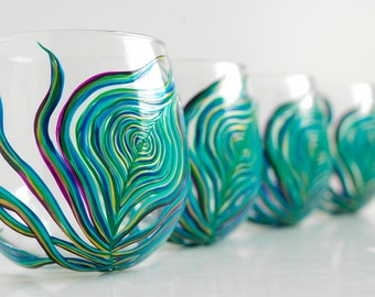 Peacock Stemless Wine Glasses - Set of 6 Hand-Painted Glasses