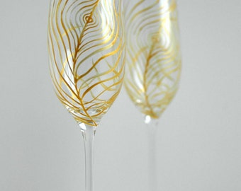 Gold Peacock Feather Champagne Flutes - Set of 2 Gold Peacock Feather Toasting Flutes, Peacock Feathers, Wedding Flutes, Gold Feathers