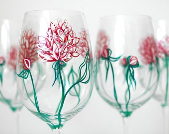 Pink Peonies Wine Glasses - Hand Painted Wine Glasses