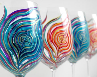 Yin and Yang Peacock Wine Glasses - Set of 4 Hand Painted Glasses in Amethyst & Sapphire and Neon Peacock Feathers
