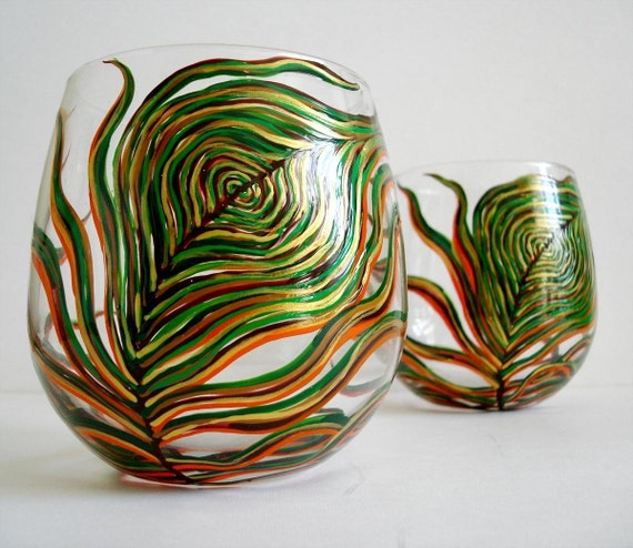 Harvest Peacock Stemless Wine Glasses--Set of 2