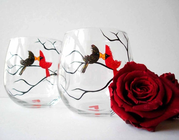 Love Birds Stemless Wine Glasses--Set of 2