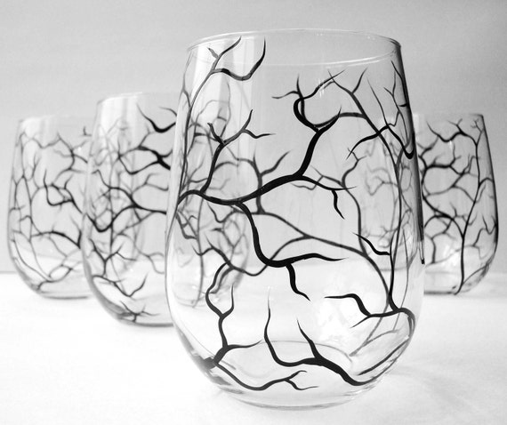 Hand Painted Wine Glasses - Set of 4 - Bare Branches, Tree Branch Stemless Glasses - Winter Tree Branches