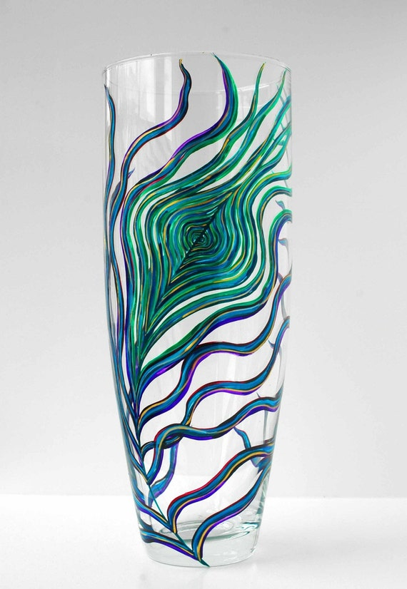 Large Peacock Hand-Painted Glass Vase