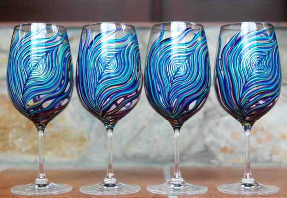 Hand Painted Peacock Feather Wine Glasses in Amethyst and Sapphire -- Set of 4 Wine Glasses -- Peacock Themed Wedding