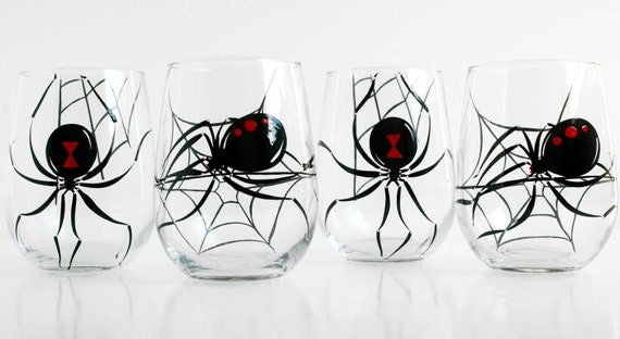 Black Widow Spider Stemless Wine Glasses - Set of 4 Hand Painted Halloween Glasses