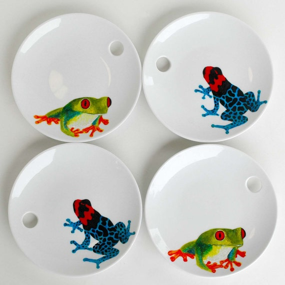 Handpainted Frogs Appetizer Plates--4 Piece Collection--Limited Edition