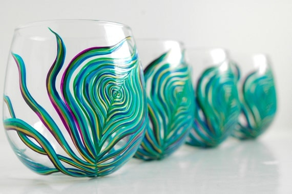 Peacock stemless wine glasses set of 4 hand painted peacock for Painted stemless wine glasses