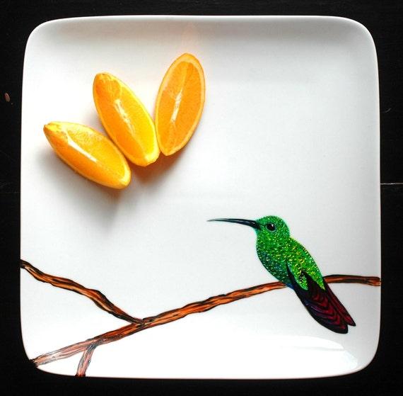 Hummingbird Platter--Hand Painted--Ready to Ship