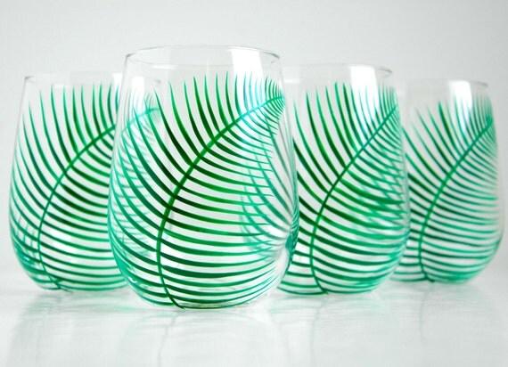 Green Ferns Stemless Wine Glasses - Set of 4 Hand Painted Fern Glasses
