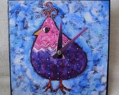 Pink and Purple Bird Clock, Whimsical Clock, Fantasy, Bird Clock, Patridge, Humorous Clock, Child, Kitchen Clock, Adult Clock