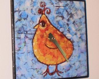 Yellow Bird Clock, Whimsical, Functional Art, Child's Clock, Kitchen, Yellow, Bird Clock, Woodland