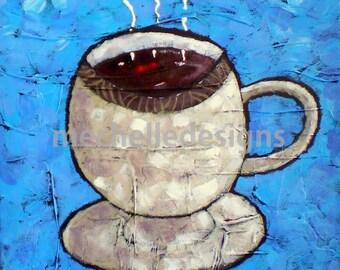 White Coffe Cup, Art, 12 x 12 inch, acrylic painting, Original Art, Java, Coffee lover, Brew, Joe, Home Decor