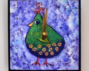 Green and Gold Bird Clock, 6 x 6 inches, Bird Clock, Patridge, Whimsical Clock, Woodland, Functional Art,
